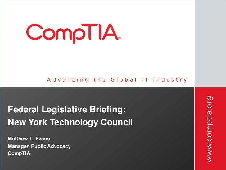 "NYTECH & CompTIA ""Federal Legislative Briefing"" 2012"