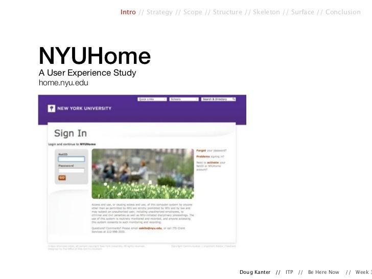 Intro // Strategy // Scope // Structure // Skeleton // Surface // ConclusionNYUHomeA User Experience Studyhome.nyu.edu    ...