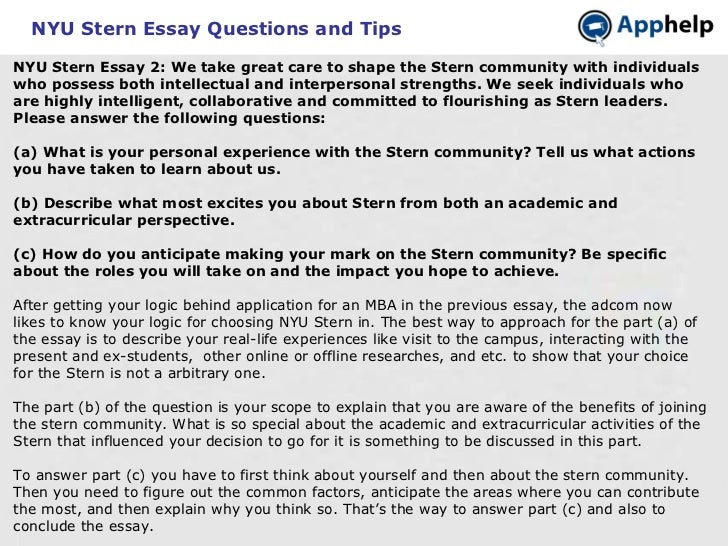 nyu stern essay tips Analyzing the applications: the nyu we're breaking down these changes and discussing the keys to writing good essays for the nyu stern class of tips and an.
