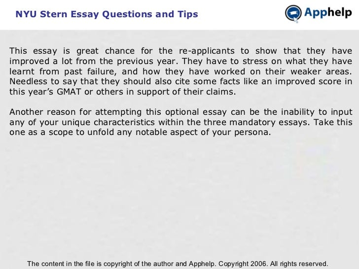 nyu stern emba essays Nyu stern mba letter of recommendation, assessment grid and short answers - download a pdf of what your mba recommender will see on stern's online form.