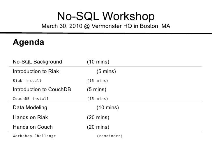No-SQL Workshop March 30, 2010 @ Vermonster HQ in Boston, MA Agenda No-SQL  Background   (10 mins) Introduction to Riak (5...