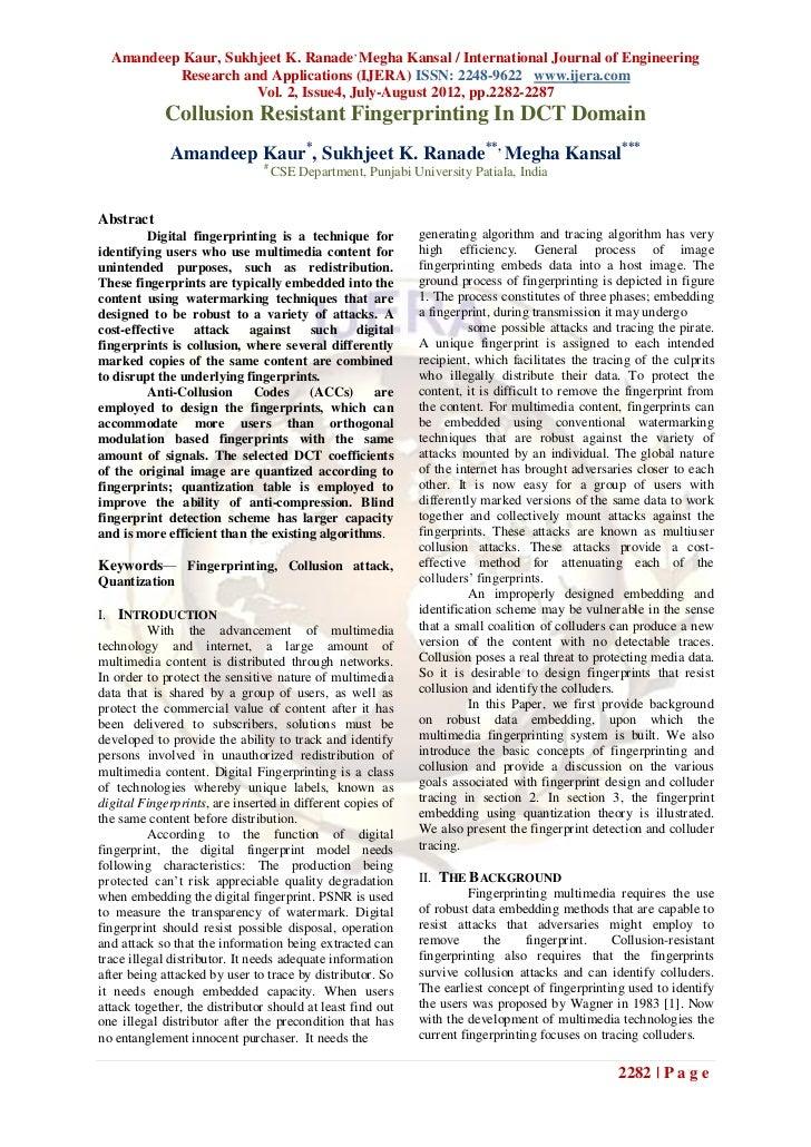 Amandeep Kaur, Sukhjeet K. Ranade , Megha Kansal / International Journal of Engineering          Research and Applications...