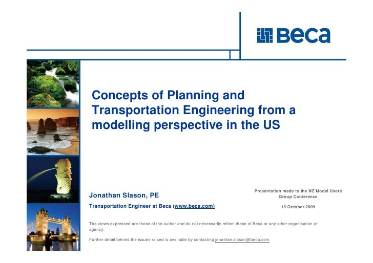 Concepts of Planning and  Transportation Engineering from a  modelling perspective in the US                              ...