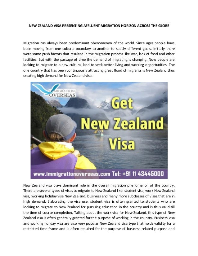 NEW ZEALAND VISA PRESENTING AFFLUENT MIGRATION HORIZON ACROSS THE GLOBE Migration has always been predominant phenomenon o...