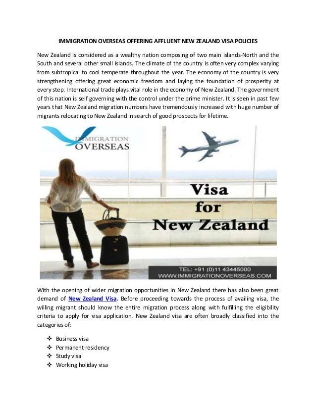 Immigration Overseas Offering Affluent New zealand Visa Policies