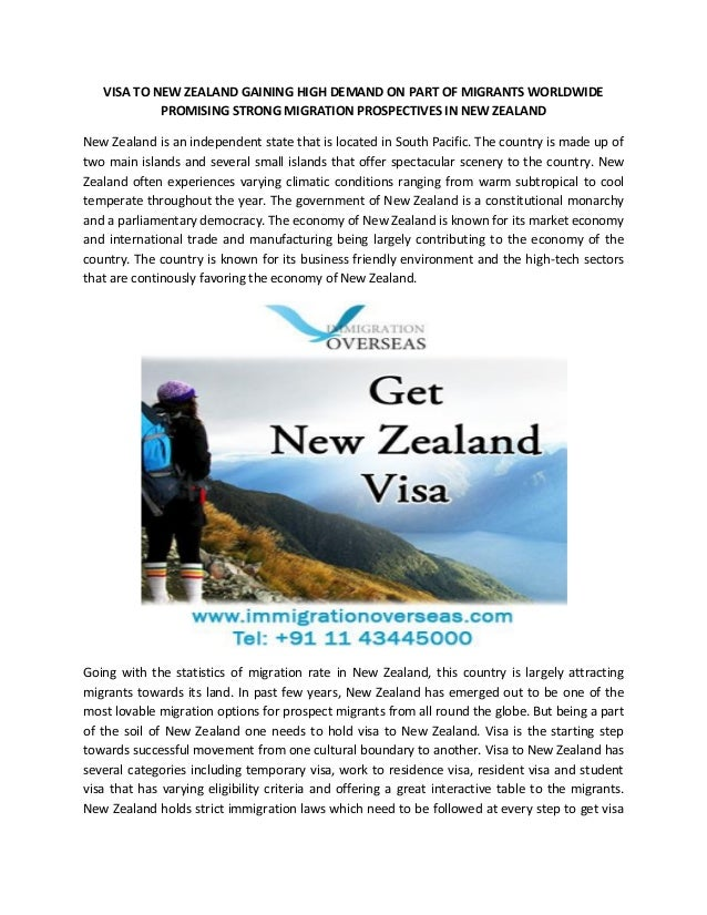 VISA TO NEW ZEALAND GAINING HIGH DEMAND ON PART OF MIGRANTS WORLDWIDE PROMISING STRONG MIGRATION PROSPECTIVES IN NEW ZEALA...