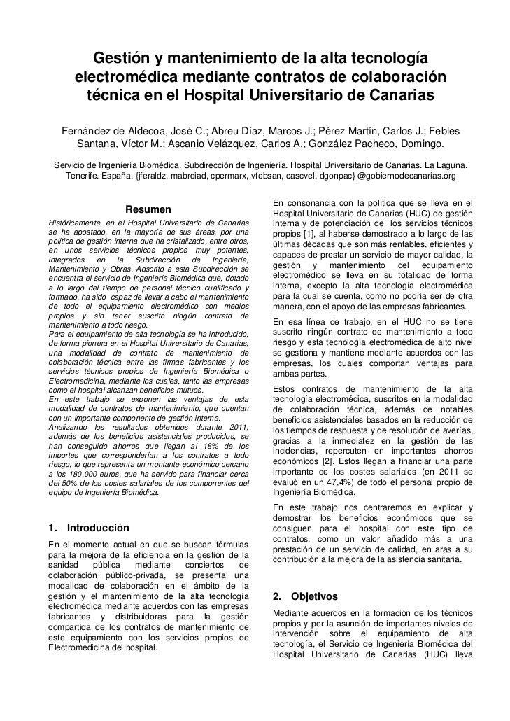 Gestión y mantenimiento de la alta tecnología       electromédica mediante contratos de colaboración         técnica en el...