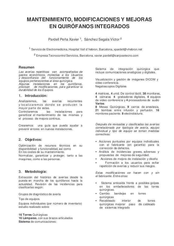MANTENIMIENTO, MODIFICACIONES Y MEJORAS            EN QUIRÓFANOS INTEGRADOS                        Pardell Peña Xavier ¹, ...