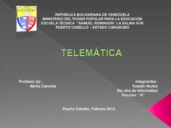 """REPÚBLICA BOLIVARIANA DE VENEZUELA            MINISTERIO DEL PODER POPULAR PARA LA EDUCACIÓN           ESCUELA TÉCNICA """"SA..."""