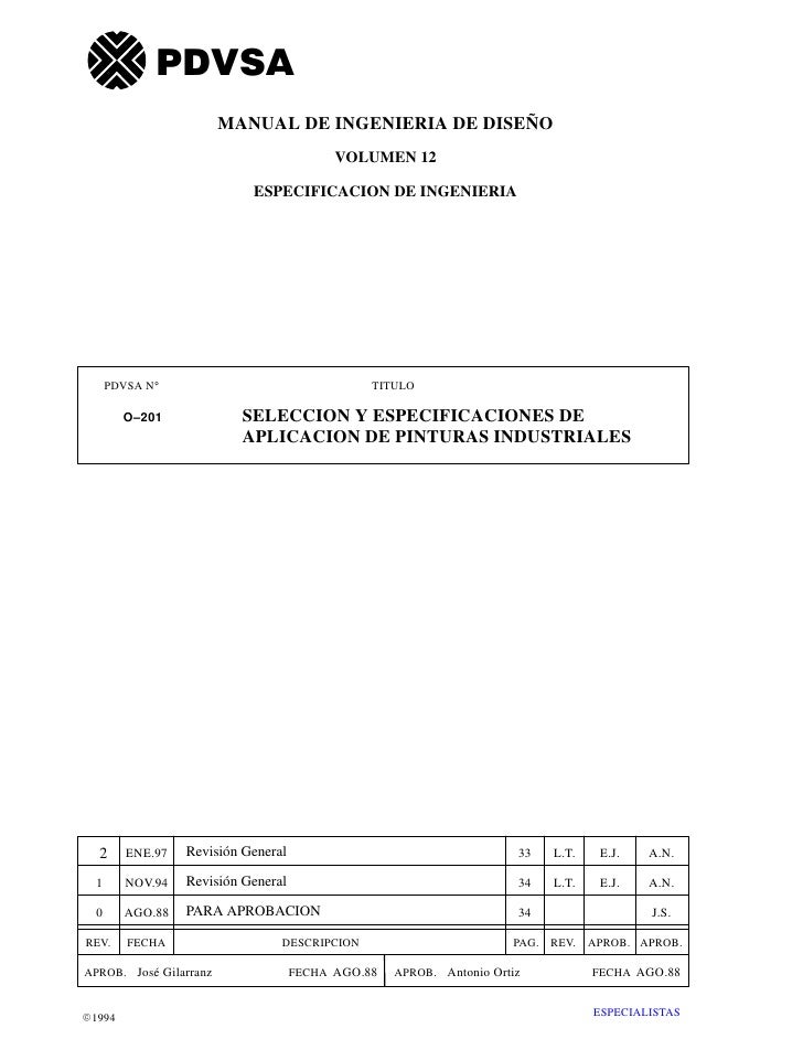 PDVSA                        MANUAL DE INGENIERIA DE DISEÑO                                           VOLUMEN 12          ...