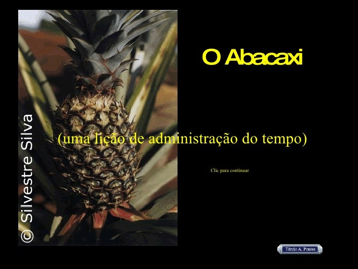 O Abacaxi (uma lição de administração do tempo) Clic para continuar