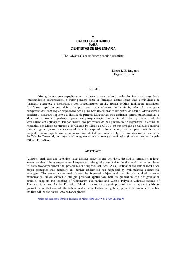 OCÁLCULO POLIÁDICOPARACIENTISTAS DE ENGENHARIA(The Polyadic Calculus for engineering scientists)Elysio R. F. RuggeriEngenh...
