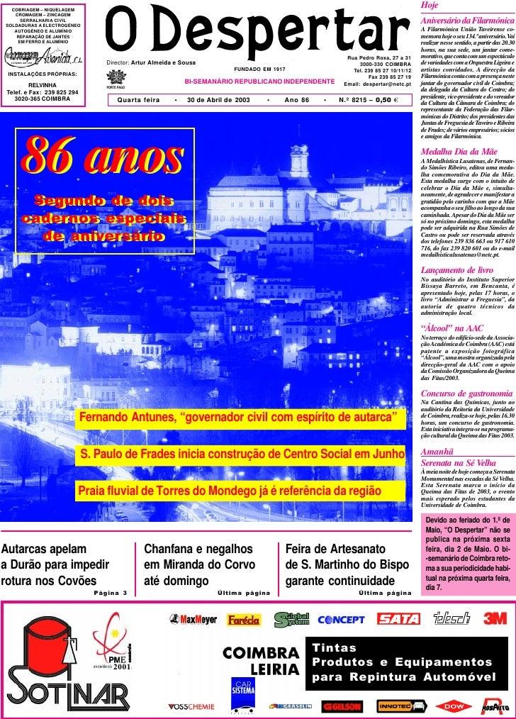 O Despertar – 8215 – 30.04.2003