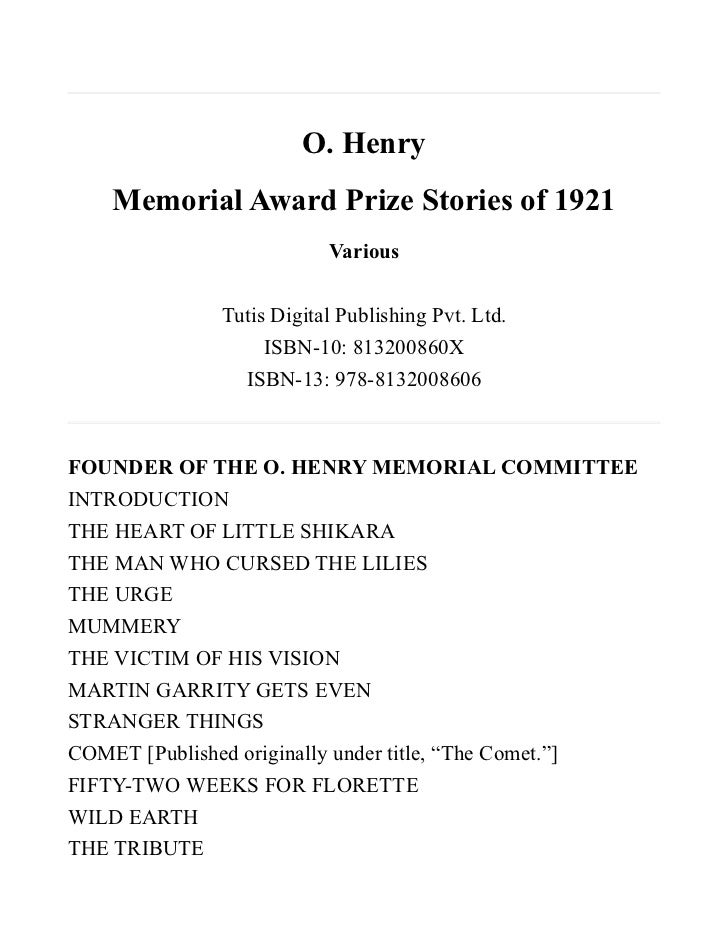 O. Henry    Memorial Award Prize Stories of 1921                          Various              Tutis Digital Publishing Pv...