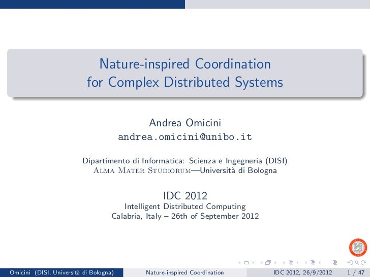 Nature-inspired Coordination                           for Complex Distributed Systems                                    ...