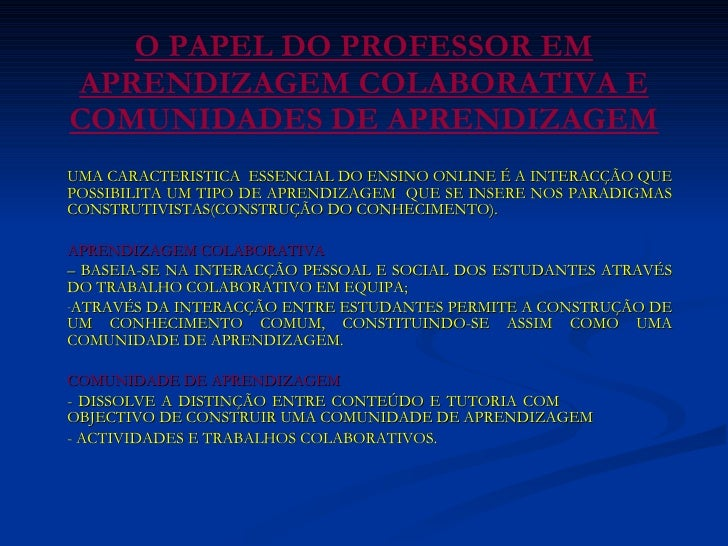O Papel Do Professor