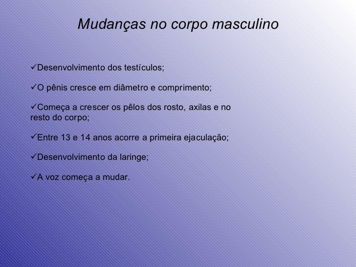 Mudanças no corpo masculino <ul><li>Desenvolvimento dos testículos; </li></ul><ul><li>O pênis cresce em diâmetro e comprim...