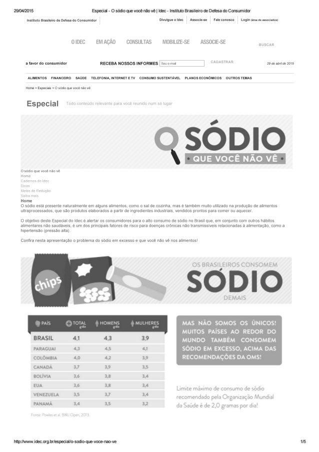 29/04/2015 Especie - 0 sódio que voce não ve |  Idec - Instituto Brasileiro de Defesa do Consunidoi'  instituto smsueim de...