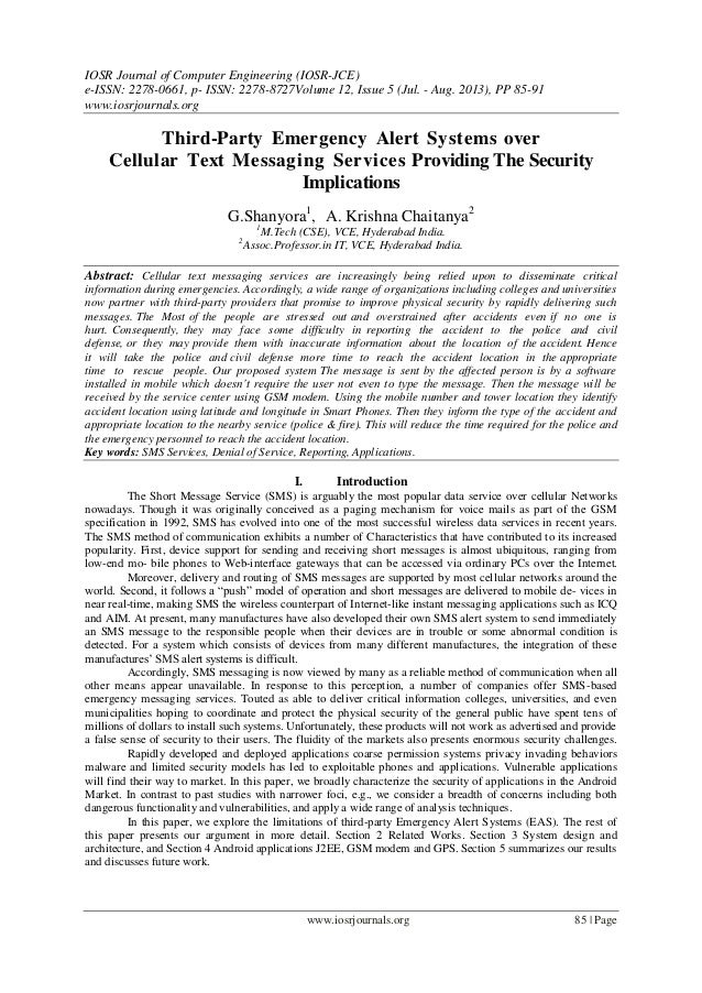 Third-Party Emergency Alert Systems over Cellular Text Messaging Services Providing The Security Implications