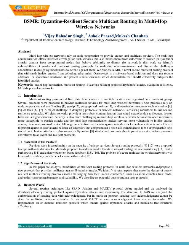 International Journal Of Computational Engineering Research (ijceronline.com) Vol. 3 Issue. 2        BSMR: Byzantine-Resil...