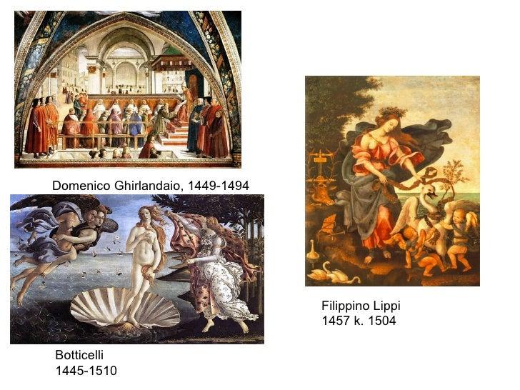 Botticelli 1445-1510 Filippino Lippi 1457 k. 1504 Domenico Ghirlandaio, 1449-1494