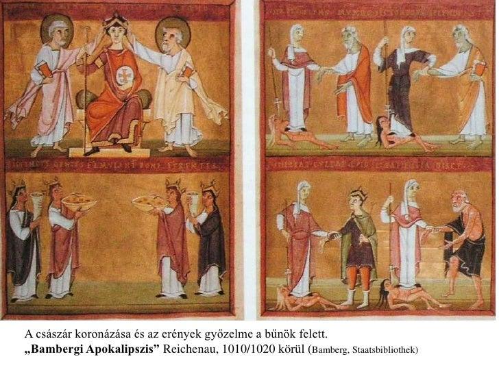 """A császár koronázása és az erények győzelme a bűnök felett. """"Bambergi Apokalipszis"""" Reichenau, 1010/1020 körül (Bamberg, S..."""