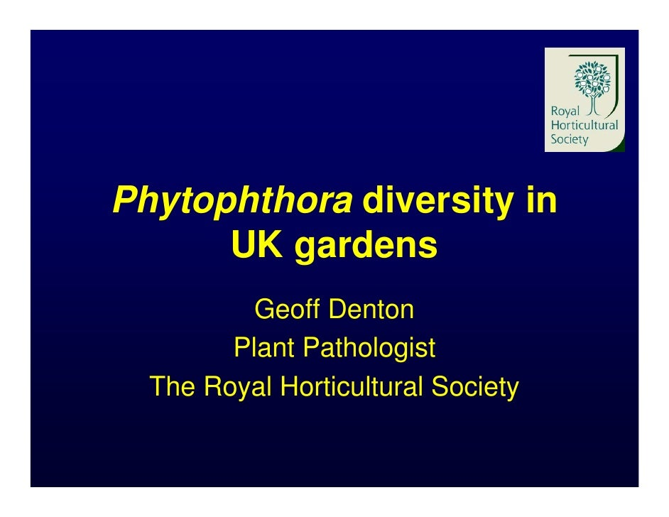 Phytophthora diversity in       UK gardens           Geoff Denton         Plant Pathologist   The Royal Horticultural Soci...