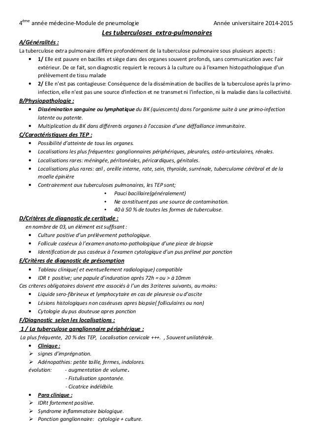 4ème année médecine-Module de pneumologie Année universitaire 2014-2015 Les tuberculoses extra-pulmonaires A/Généralités :...