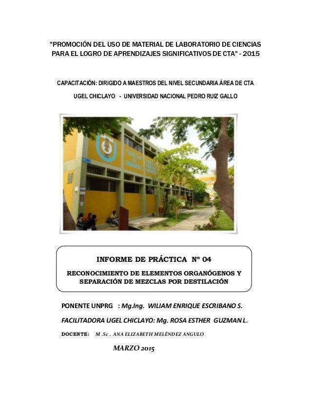 """""""PROMOCIÓN DEL USO DE MATERIAL DE LABORATORIO DE CIENCIAS PARA EL LOGRO DE APRENDIZAJES SIGNIFICATIVOS DE CTA"""" - 2015 CAPA..."""