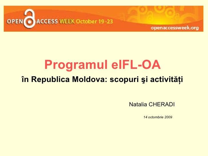 Programul eIFL-OA în Republica Moldova: scopuri şi activităţi