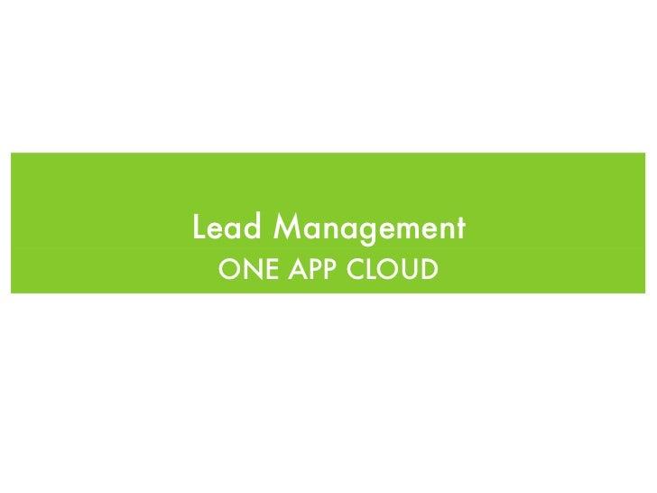 One App Cloud - Lead management