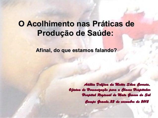 O Acolhimento nas Práticas de Produção de Saúde: Afinal, do que estamos falando?  Adélia Delfina da Motta Silva Correia, O...