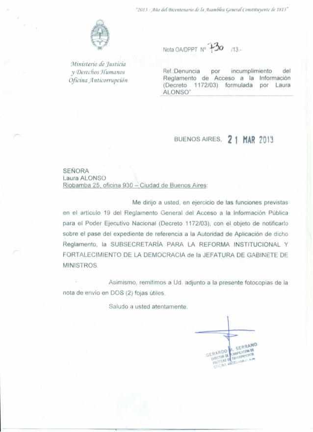 """2013 -)1110 cfefCBicentenario de {a}lsa1116[ea qellera[Consútuyellte de 1813""Nota OA/DPPT N° ~t3o /13.-Ministerio de Just..."