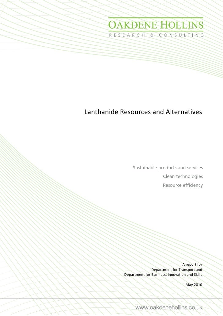 Lanthanide Resources and Alternatives                                                  A report for                       ...