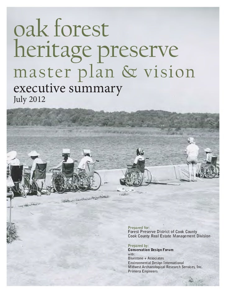 Forest Preserve District Executive Summary of Oak Forest Heritage Preserve Master Plan