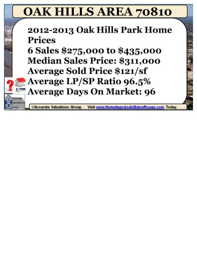 Oak Hills Park Subdivision Baton Rouge LA 70810 Home Prices 2012-2013