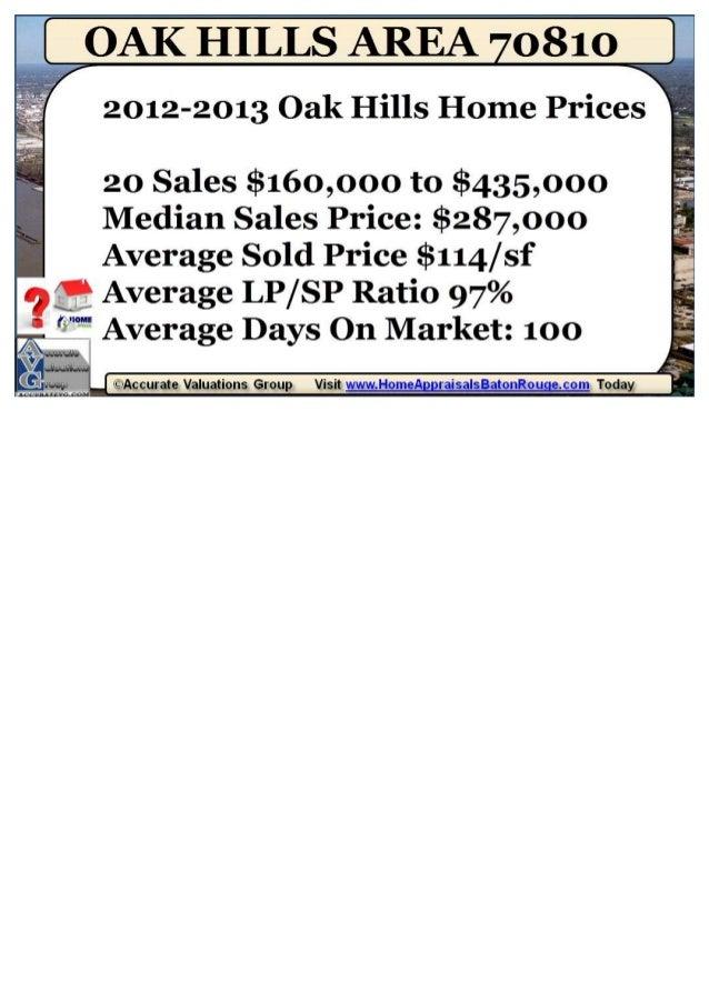Oak Hills Park Subdivision Baton Rouge LA 70810 Home Prices 2012-2013