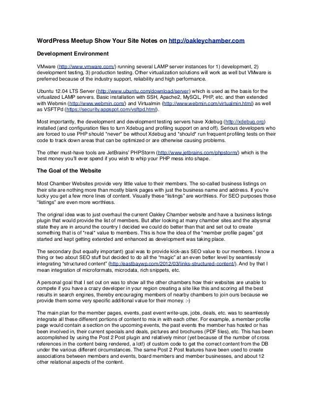 Oakley Chamber WordPress Development Details