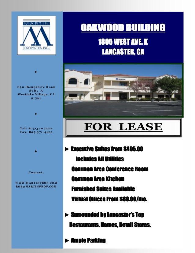 OAKWOOD BUILDING                                     1805 WEST AVE. K                                      LANCASTER, CA  ...