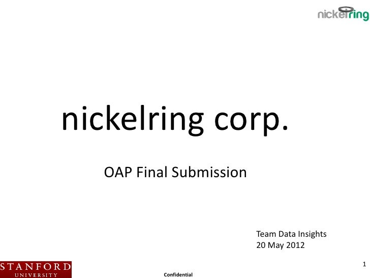 nickelring corp.  OAP Final Submission                         Team Data Insights                         20 May 2012     ...