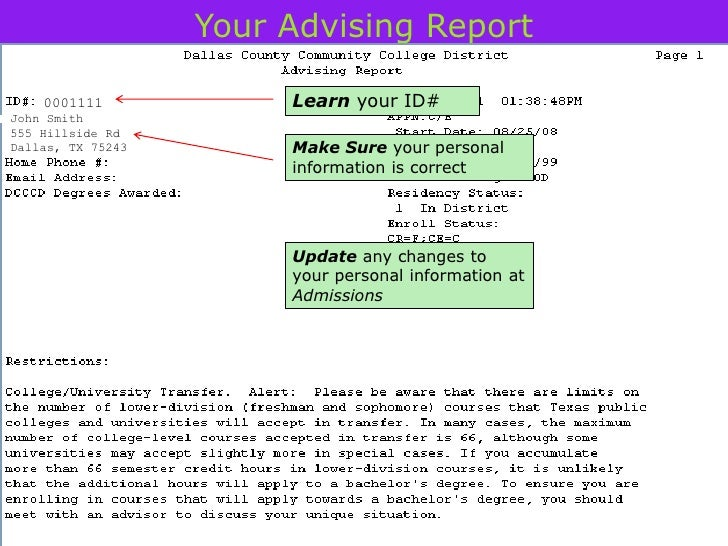 Your Advising Report    0001111             Learn your ID#John Smith555 Hillside RdDallas, TX 75243        Make Sure your ...