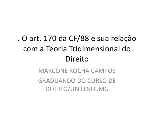 teoria tridimensional do direito e art. 170 CF