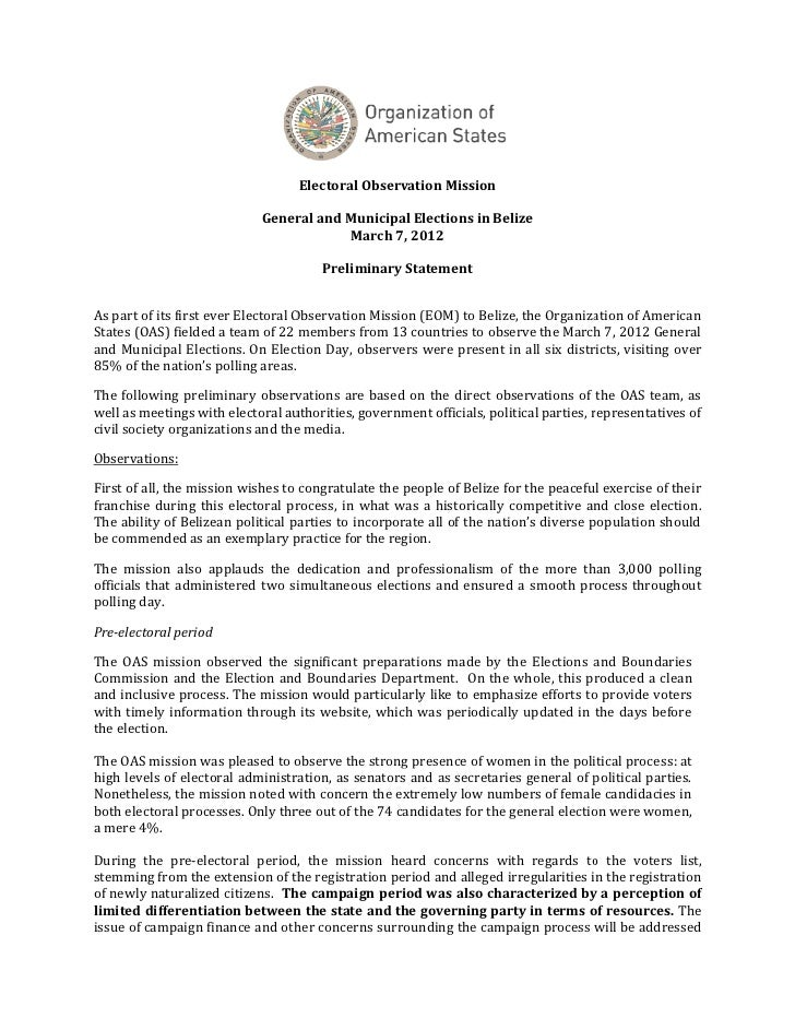 Preliminary Statement of OAS on Belize's 2012 Election