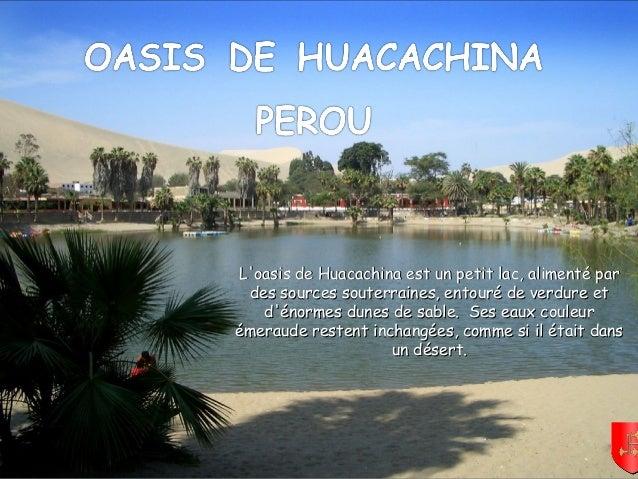 Mettez le son L'oasis de Huacachina est un petit lac, alimenté parL'oasis de Huacachina est un petit lac, alimenté par des...