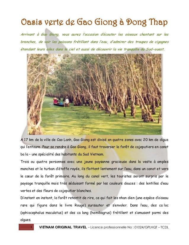 Oasis verte de Gao Giong à Dong Thap Arrivant à Gao Giong, vous aurez l'occasion d'écouter les oiseaux chantant sur les br...