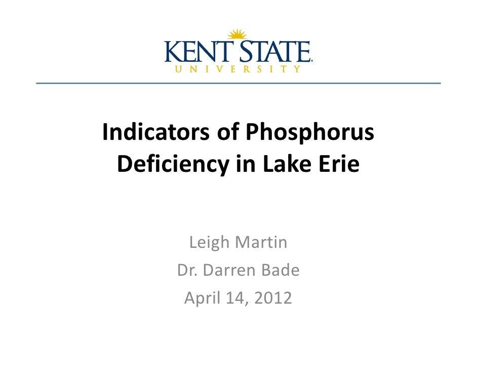 Indicators of Phosphorus  Deficiency in Lake Erie       Leigh Martin      Dr. Darren Bade       April 14, 2012
