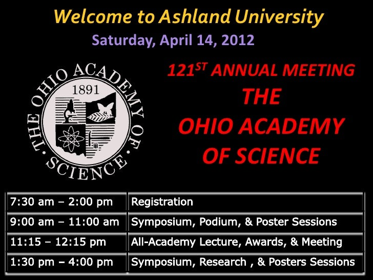 Welcome to Ashland University    Saturday, April 14, 2012               121ST ANNUAL MEETING                     THE      ...