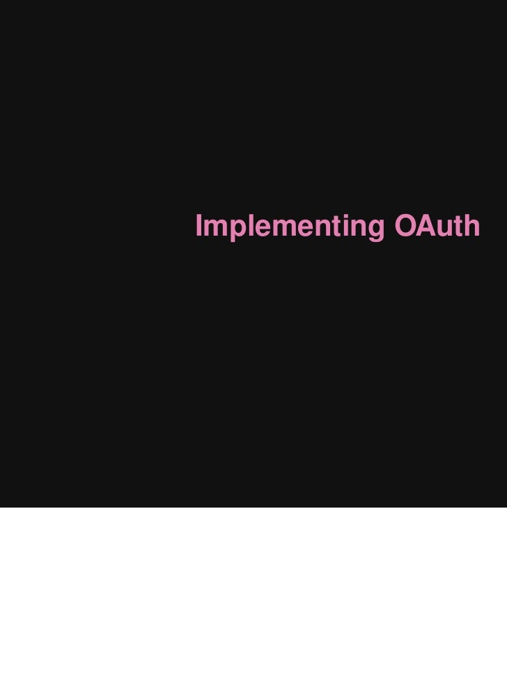 Implementing OAuth