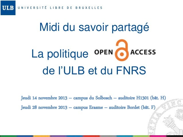Politique Open Access de l'ULB - Midi du savoir partagé