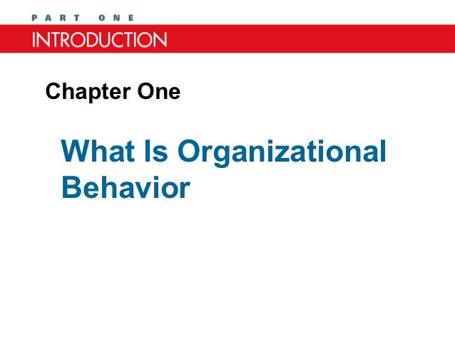 Chapter One What Is Organizational Behavior